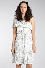 Warehouse Feather Print One Shoulder Dress