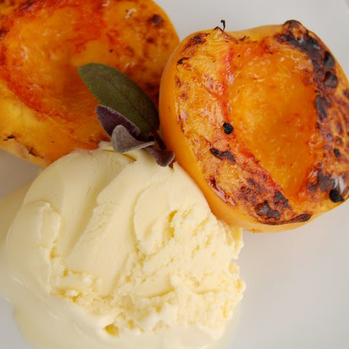 Sage Ice Cream, Grilled Peaches
