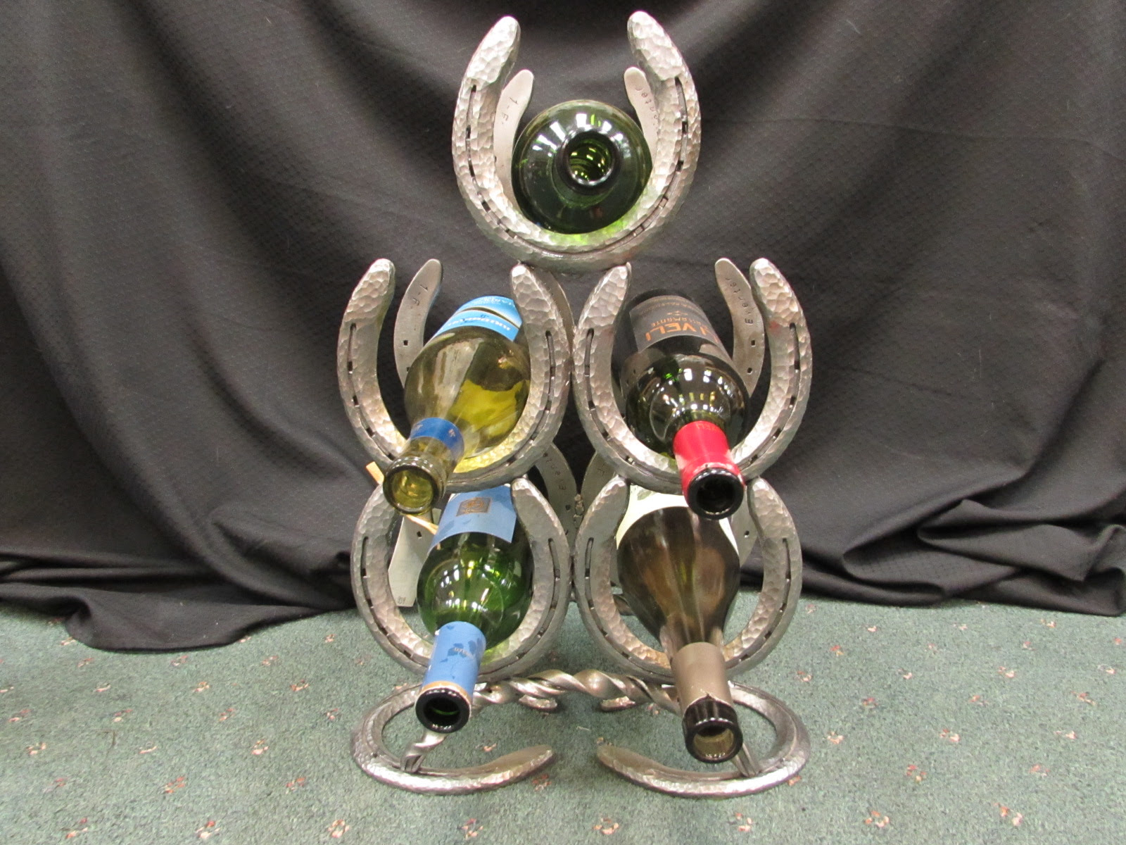 Horseshoe Wine Bottle Holder 3 Tier 5 Bottle Triangle Sisters Log