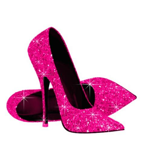 elegant hot pink glitter high heel shoes standing photo
