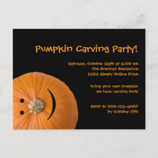 Black orange pumpkin Halloween party invitation Post Cards
