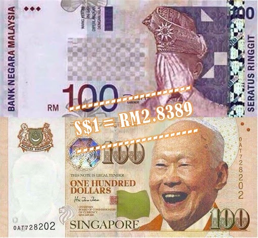 Singapore Dollar to Malaysia Ringgit Currency Rate - Agong Ashamed Kuan Yew Laugh - 8Aug2015