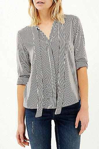 River Island Blue Stripe Tie Neck Blouse