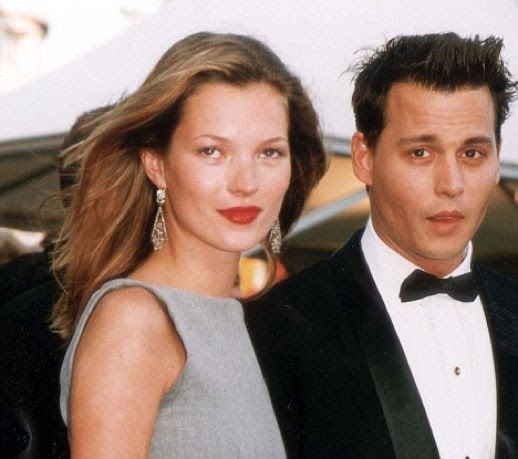 LE FASHION BLOG JOHNNY DEPP KATE MOSS JOHNNY AND KATE INSPIRATION DROP EARRINGS GREY DRESS RED LIPS 2