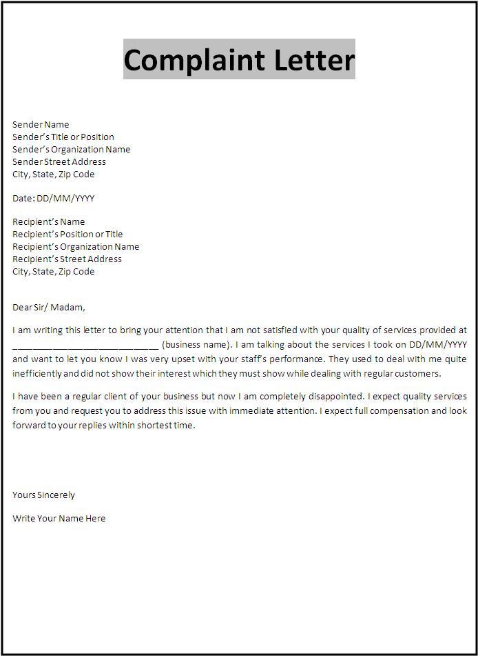 Letter of complaints samples fieldstation spiritdancerdesigns Images