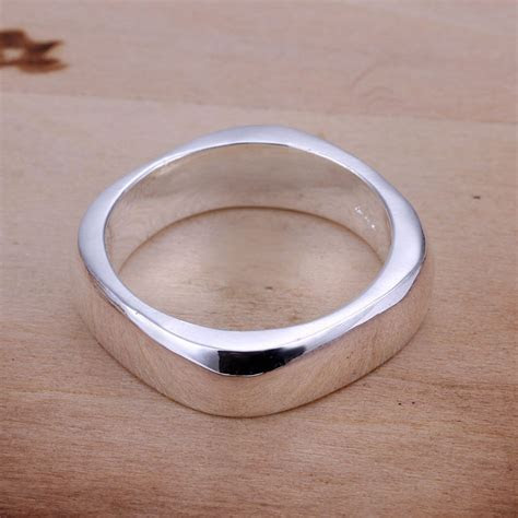 *UK* 925 SILVER PLT SIMPLE SQUARE EDGE BAND RING LADIES