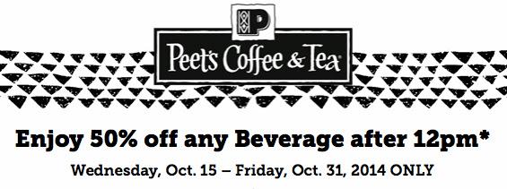 Half Off Your Favorite Drink at Peet's Coffee & Tea