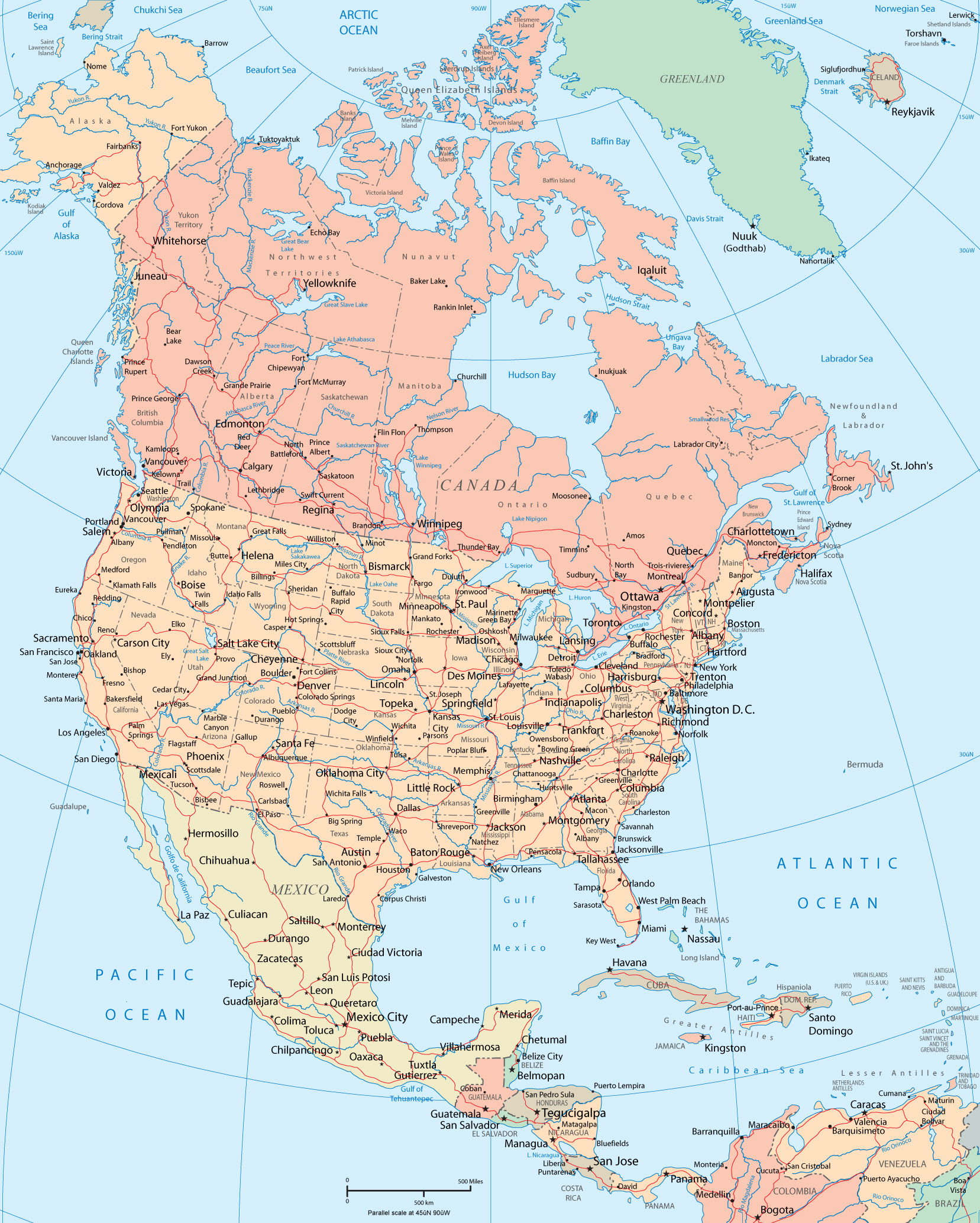 North America Maps Maps of North America OnTheWorldMap.com ... on letter n america, map latin america, map of america, map o america, globe n america, map n orleans, map central america, time zone america,