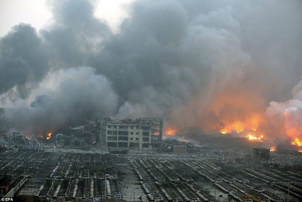 Blaze: At least 44 people have been killed and up to 500 more injured after several explosions tore through a warehouse inTianjin