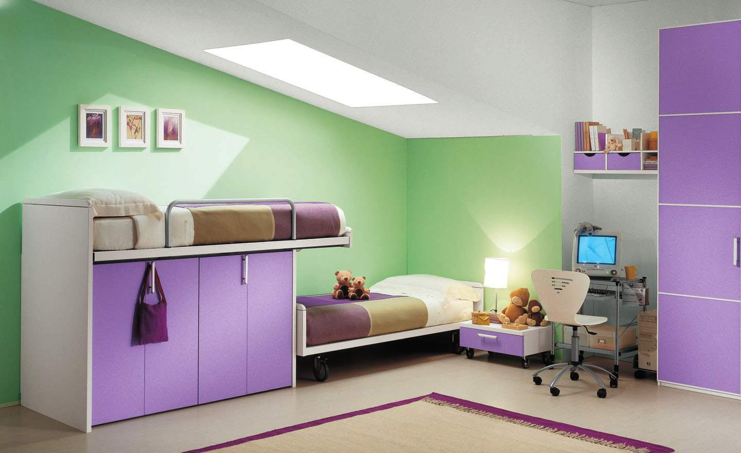 Green Purple Kid Bedroom Color Combination Ideas With Closet