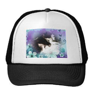 arty cat hiding in flowers photo trucker hat