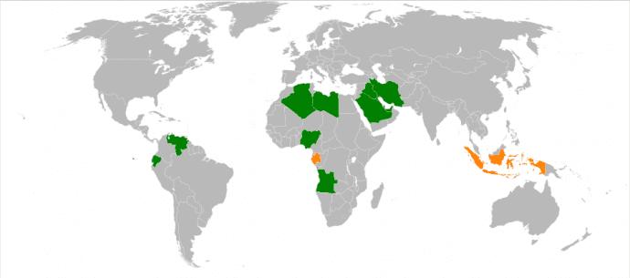 Los países en color verde son miembros activos de la OPEP. Los que están en naranja ya no forman parte de esta organización.