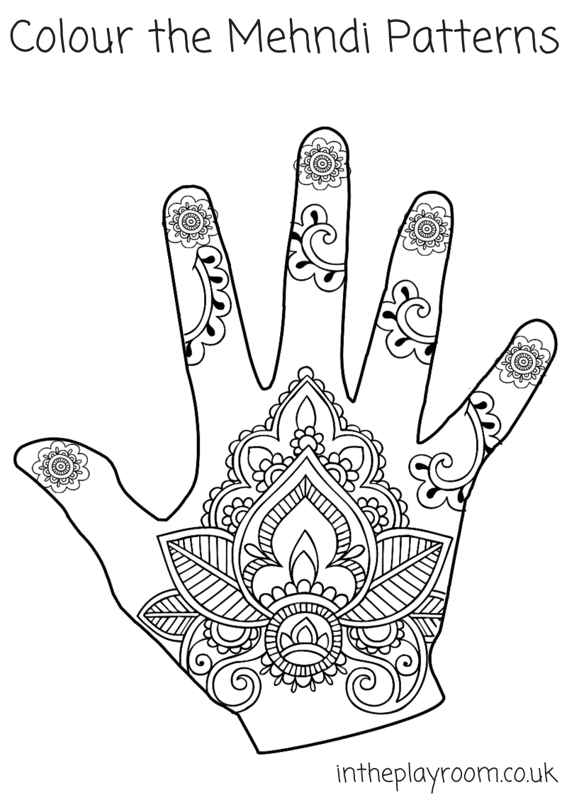 Mehndi Hand Colouring Pages - In The Playroom