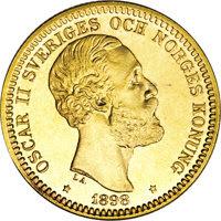 Swedish 20 crown coin, 1898, profile of King Oscar II