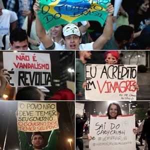 Cartazes têm ironia e criatividade (Silvia Izquierdo/AP / Rodrigo Gorosito/G1 / Caio Kenji/G1 )