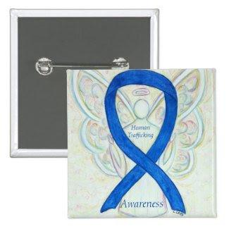 Human Trafficking Awareness Angel Ribbon Pin