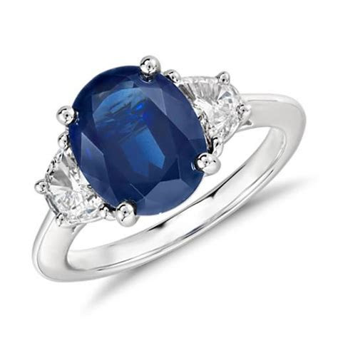 Oval Sapphire and Diamond Ring in Platinum (10x8mm)   Blue