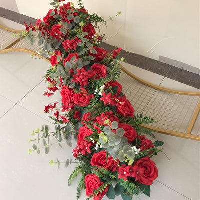 Red Table Runner Artificial Flower Rose Hydrangea Arrangement Viva La Rosa