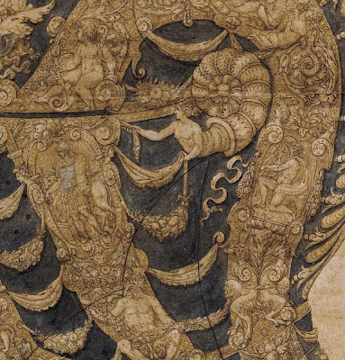 Sketch by Andrea Casalini for an armor helmet (detail)