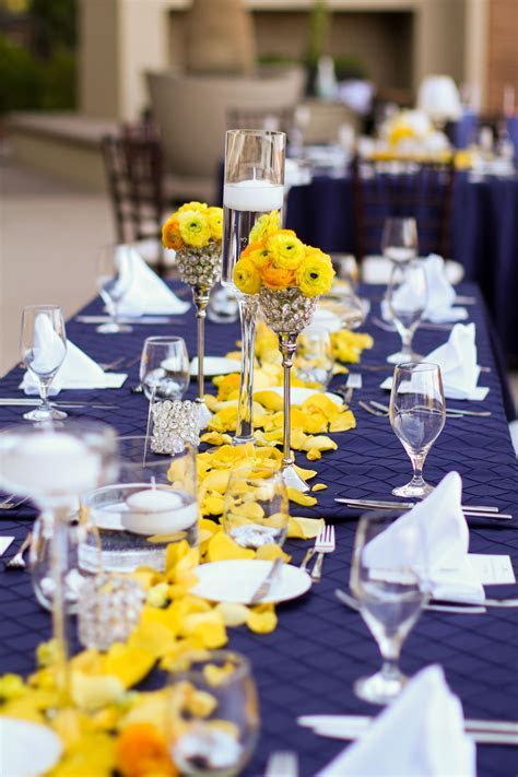 Westin Lake Las Vegas Wedding, navy pintuck linen, yellow