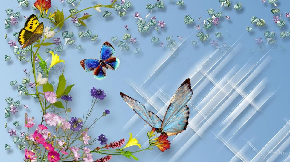 Wild Flower Butterflies Wallpaper Nature And Landscape Wallpaper