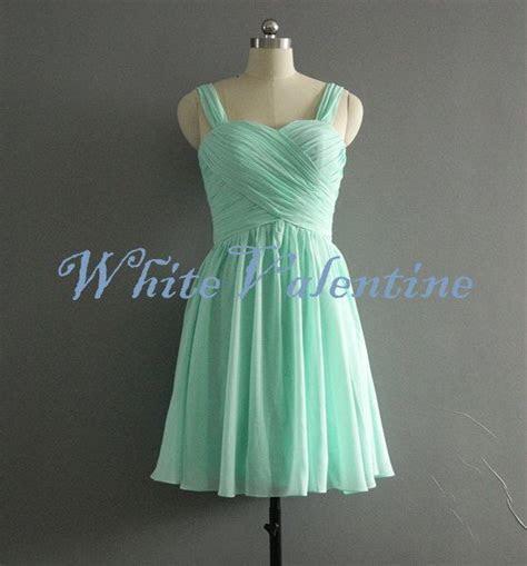Short Mint Bridesmaid Dress Straps Coral Peach Grey Blue