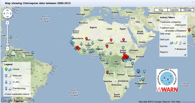This map summarizes the available data from 2000 – 2012 describing chloroquine resistance in Africa. The map was generated by the WWARN Explorer, a product of the Worldwide Antimalarial Resistance Network, www.wwarn.org.
