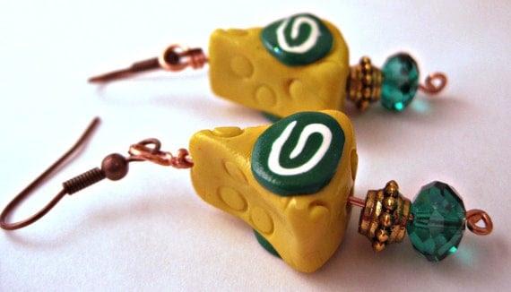 Green Bay Packers Cheese Head Earrings Jewelry