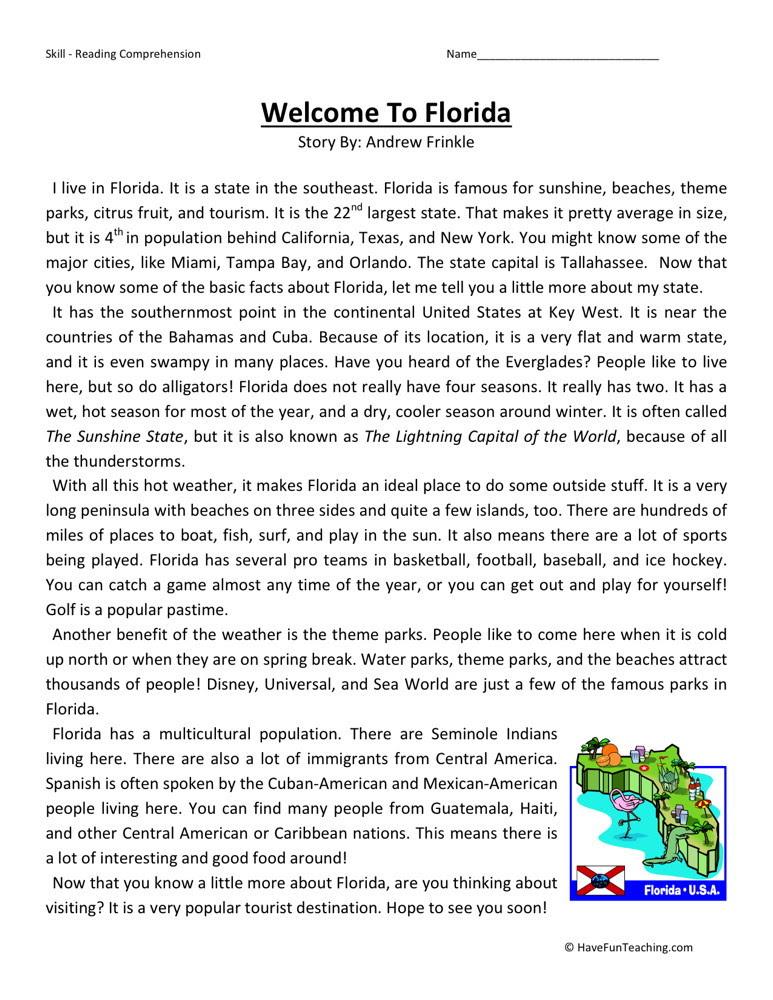Reading Prehension Worksheet Wel E To Florida