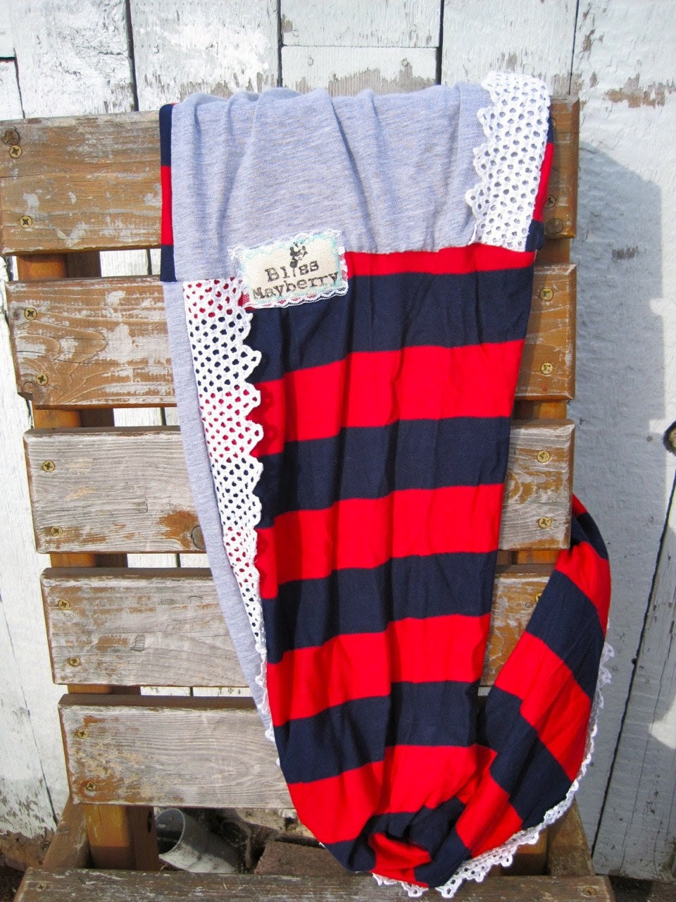 Heidi Beth Loopdy Scarf in red/navy striped jersey, grey jersey, & white vintage lace