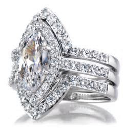 Padgett's Marquise Cut CZ Wedding Ring Set   Double Ring