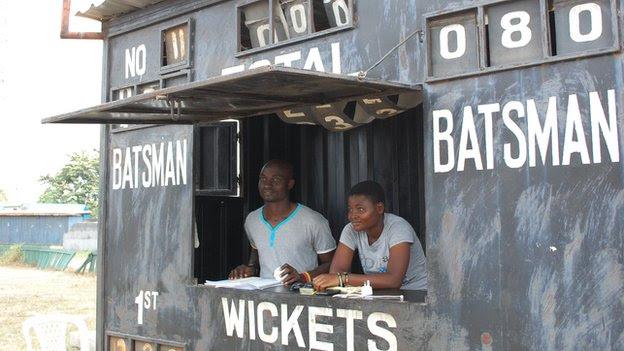 The cricket scoreboard at the Tafawa Balewa Square Cricket Oval in Lagos, Nigeria