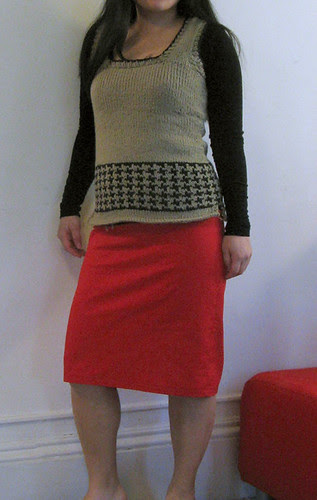 Black and Tan vest and pencil skirt