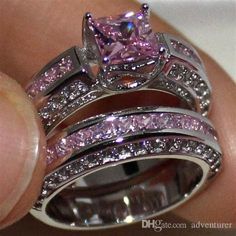 Eternity Lady's 925 Sterling Silver Square Simulated Pink