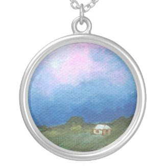 Perspective Round Pendant From Original Art necklace
