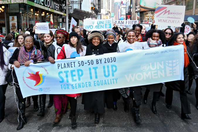 Step it up for gender equality march.