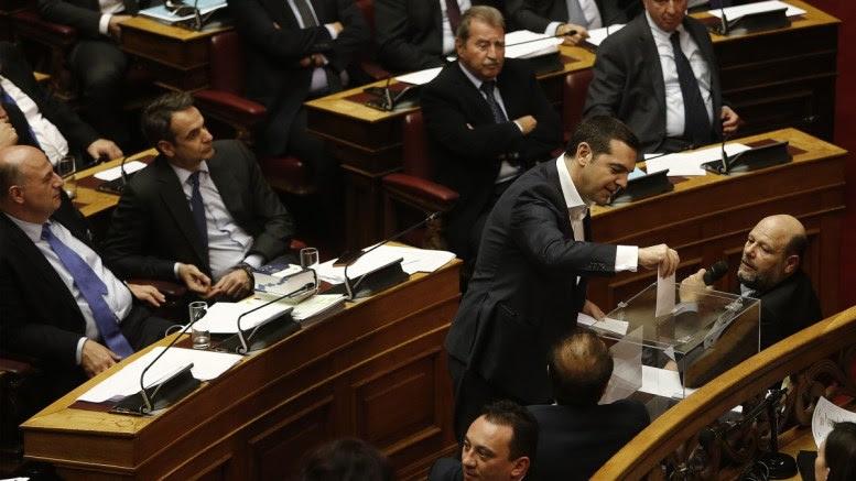 File Photo: Ο πρωθυπουργός Αλέξης Τσίπρας ψηφίζει κατά την διάρκεια της ψηφοφορίας επί της προτάσεως της κυβερνητικής πλειοψηφίας για τη συγκρότηση επιτροπής προκαταρκτικής εξέτασης για την υπόθεση NOVARTIS, στην Ολομέλεια της Βουλής, Πέμπτη 22 Φεβρουαρίου 2018. ΑΠΕ-ΜΠΕ, ΑΛΕΞΑΝΔΡΟΣ ΒΛΑΧΟΣ