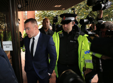 Rooney arrives at Stockport Magistrates' Court today.