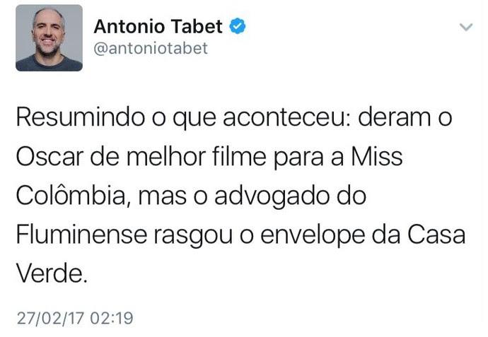 Tabet Flamengo Fluminense (Foto: Reprodução / Twitter)