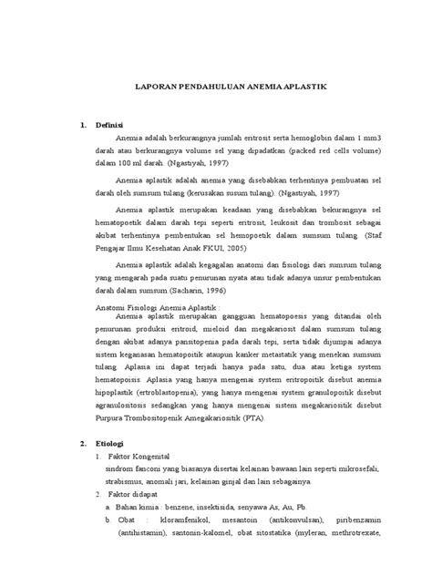 LAPORAN PENDAHULUAN ANEMIA APLASTIK PDF