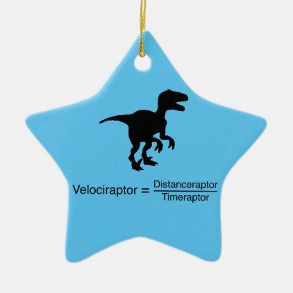 velociraptor funny science ceramic ornament
