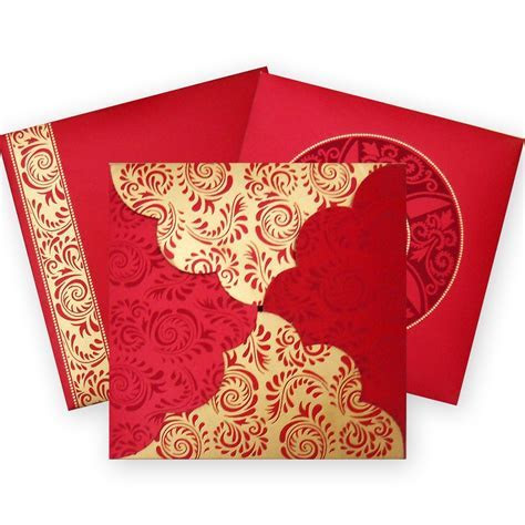 Elegant Hindu Wedding Card with Raised Gold Color Printing