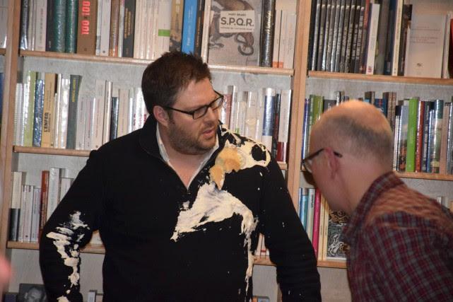 L'auteur et sociologue Mathieu Bock-Côté a été entarté... (fournie par La Vie agricole, Yannick Patelli)
