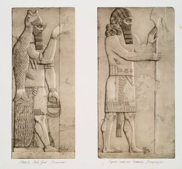 Two drawings of genies with elaborate headdresses