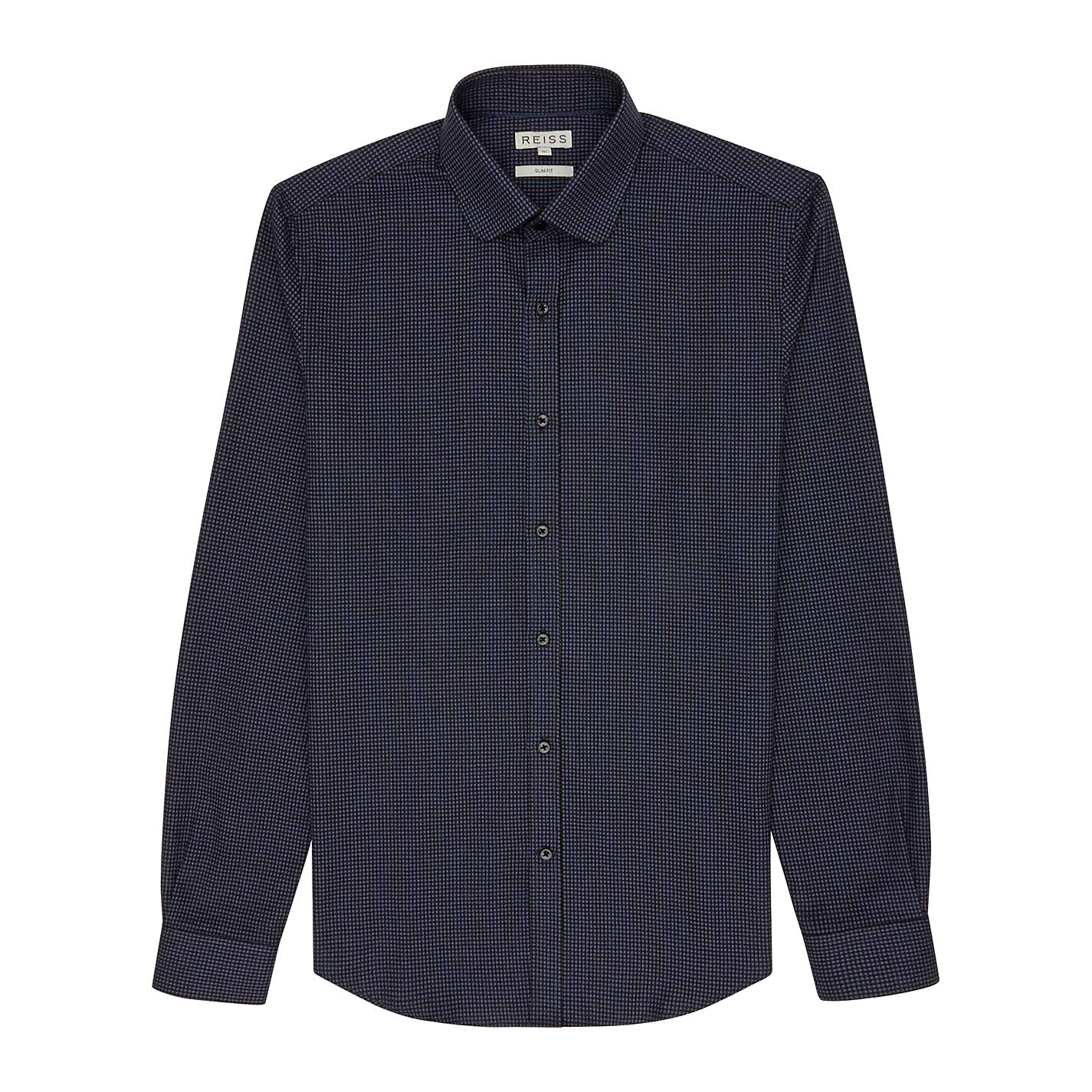 Buy Reiss Fluxus Curved Collar Dogtooth Shirt, Navy online at John