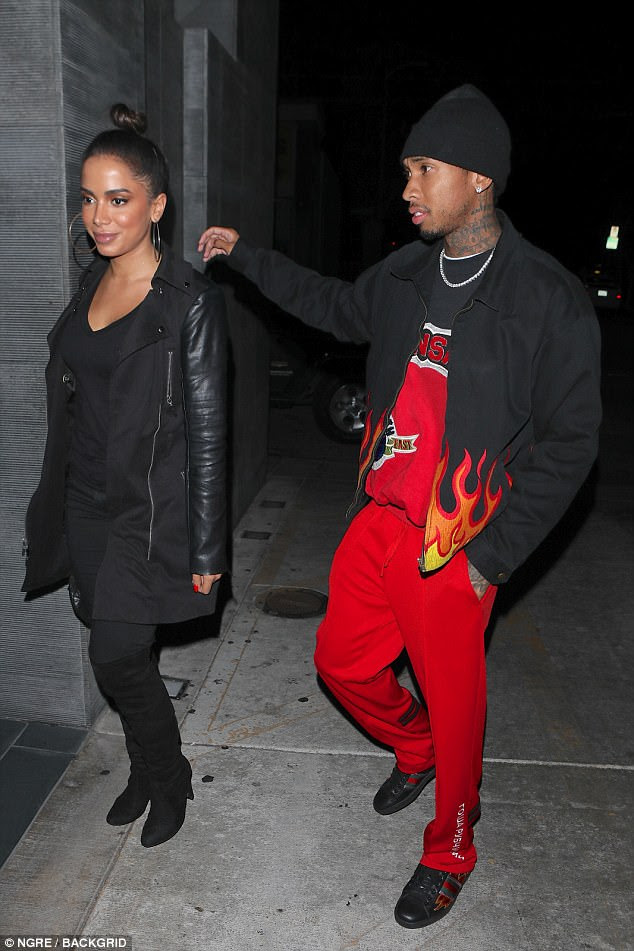 Teaming up?And by the looks of her Instagram account, which boasts over 19 million followers, she and Tyga may actually be collaborating on some new music together (pictured out in West Hollywood on Wednesday)
