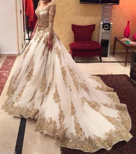 Discount Muslim Wedding Dresses White And Gold Long