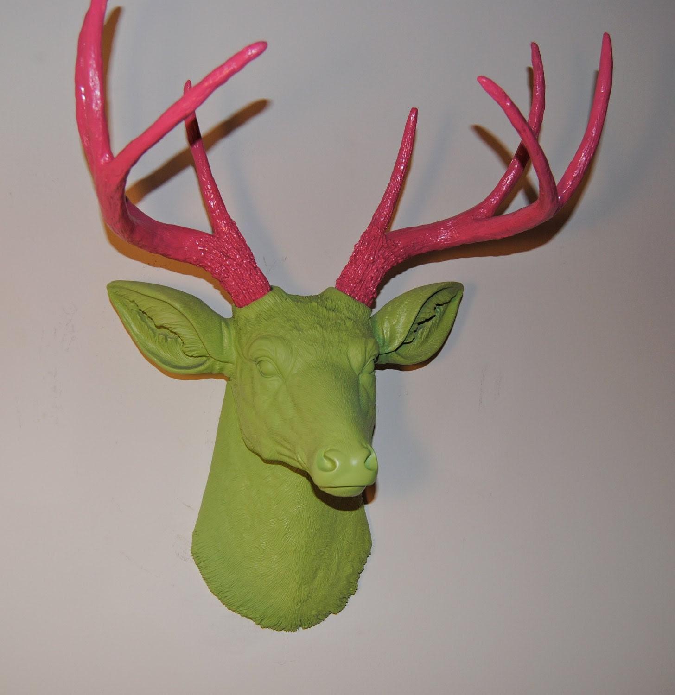 The Preppy Deer - Pink and Green Faux Deer Head Wall Mount - Deer Head Antlers Faux Taxidermy