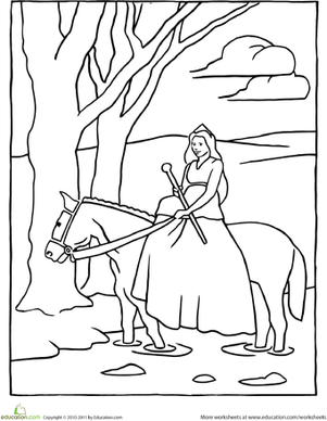 Color the Horseback Riding Princess | Coloring Page ...