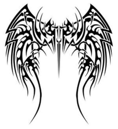 A full back tribal printable wings tattoo for men and women.